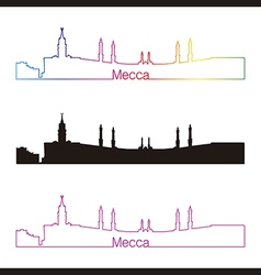 Mecca skyline linear style with rainbow vector