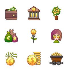 Money icons set cartoon style vector