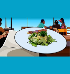 Painted dish of salad and meat served in a cafe vector