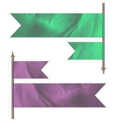Pink and green silk flags vector