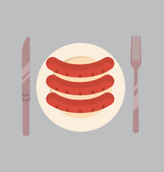 plate with sausages icon oktoberfest festival vector image vector image