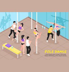 Pole dance training isometric vector