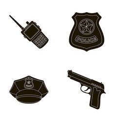radio police officer s badge uniform cap pistol vector image