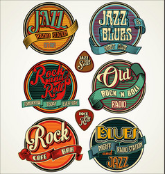 Rock jazz and blues retro vintage badges vector