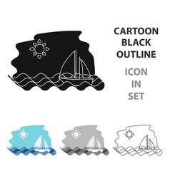 sailing boat on the sea icon in cartoon style vector image vector image