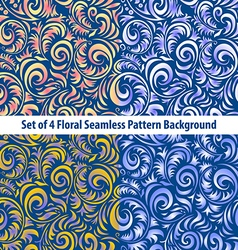 Set floral backgrounds gorgeous seamless floral vector