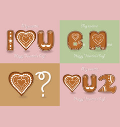 Set of romantic cards with gigerbreads cookies vector