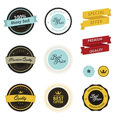 Set of vintage sale labels badges and stickers vector image vector image