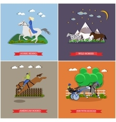 Set of wild and domestic horses flat design vector