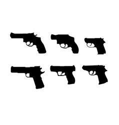 six hand gun silhouettes vector image