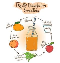 Sketch fruity dandelion smoothie recipe vector