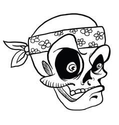 skull wearing bandana black vector image