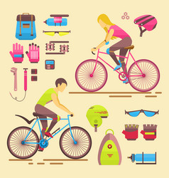 Sport bikers girl and boy people on vector