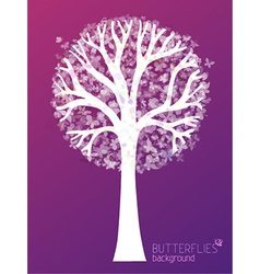 White tree silhouette with butterflies in its vector image vector image