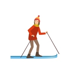 Woman skiing winter sports vector