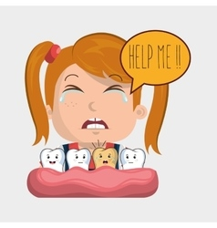 Childhood sick pain tooth vector