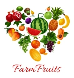 Farm fruits icons in heart shape vector