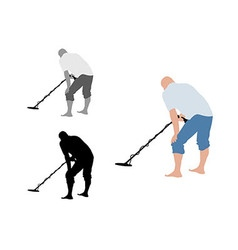 Man with shorts using metal detector on bare foot vector