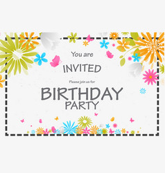 birthday invitation card with beautiful flower vector image