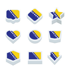 Bosnia and herzegovina flags icons and button set vector