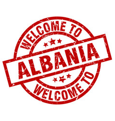 Welcome to albania red stamp vector