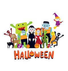 Group of halloween monster characters vector