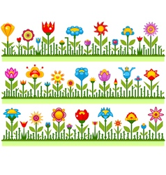 Floral borders with abstract flowers vector