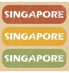 Vintage singapore stamp set vector