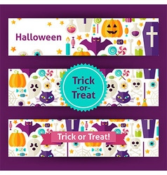 Halloween trick or treat template banners set in vector