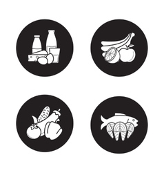 Grocery store products black icons set vector
