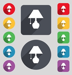 Table lamp icon sign a set of 12 colored buttons vector