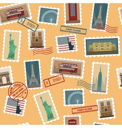 Travel postage stamps seamless pattern vector