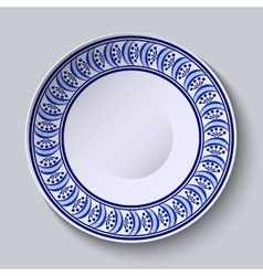 Plate with blue ornament on edge template design vector