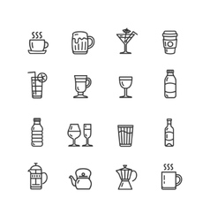 Drink alcohol beverage and coffee tea icons vector