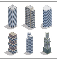 Modern skyscrapers isometric building construction vector