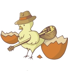 Easter chick bouzouki vector