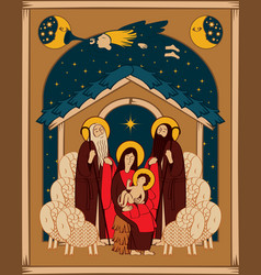 Adoration of the magi mary and jesus vector