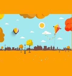 Autumn empty city park flat design landscape vector