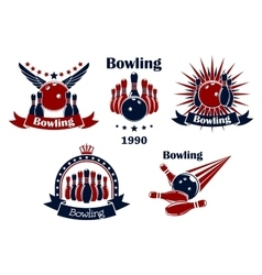 Bowling game emblems with strike vector image vector image
