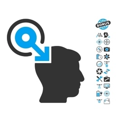 Brain interface plug-in icon with copter tools vector