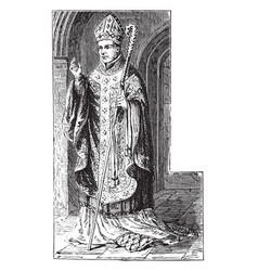 Costume of a bishop 12th century vintage vector