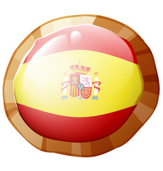 Flag of spain in round frame vector