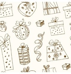 Gift boxes doodle seamless pattern Vintage vector image vector image