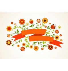 greeting card with flowers vector image vector image