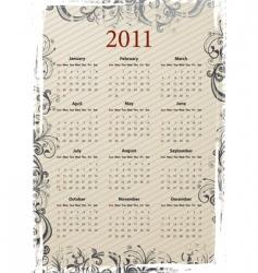grungy calendar 2011 vector image vector image