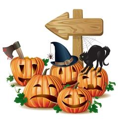 Halloween wooden sign vector image vector image