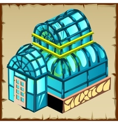 Image of greenhouse close up front winter garden vector