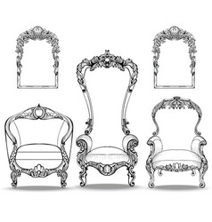 Imperial baroque armchairs set with luxurious vector
