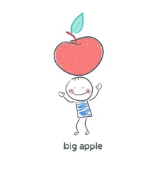 Man and apple vector image vector image