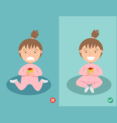 Right and wrong ways sitting position for child vector